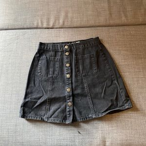 Black BDG denim snap front aline miniskirt small